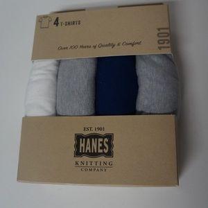 Hanes Men's T-Shirts 4 Pack Size S White Gray Blue